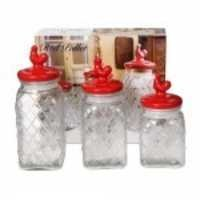 Circleware Red Pullet 3 Piece Embossed Canister Set With Red Ceramic Lids