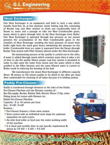 Heat Exchanger & Paddy Pre-Cleaner
