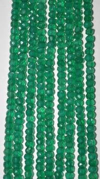 Green Onyx Rondell Faceted Beads