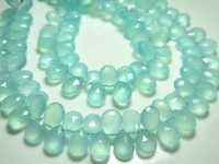 Aqua Chalcedony Faceted Pears