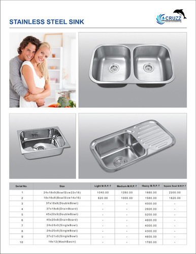 Stainless steel kitchen sink Rate List