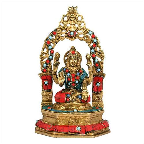 Brass Firoza Stone Laxmi Idol