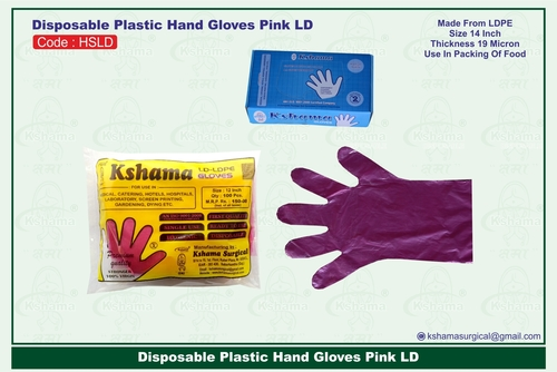 Disposable Plastic Hand Gloves Pink LD