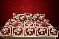 Kc Golden Maroon Floral Diwan Set