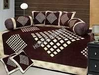 BROWN EMBROIDERED DIWAN COVER SET