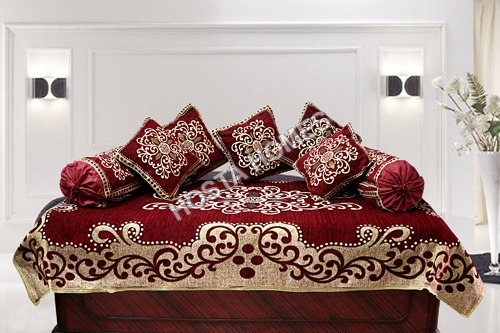 MAROON FLORAL EMBROIDERED DIWAN COVER SET