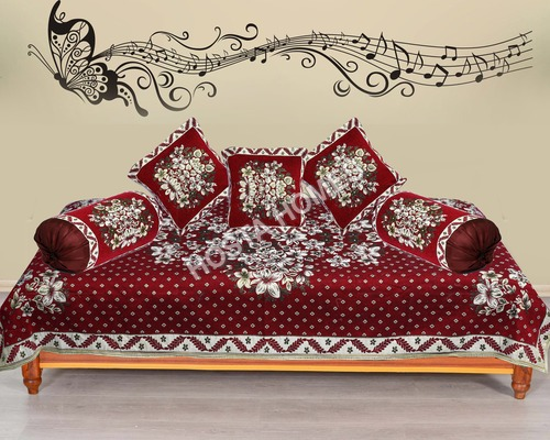 RED FLORAL DIWAN COVER SET
