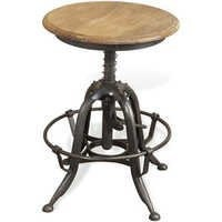 Industrial lime wash wooden metal rustic stool
