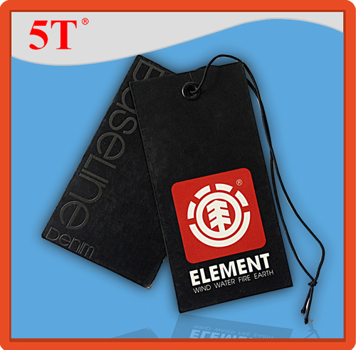 Black and Red Garment Custom Hangtags with String