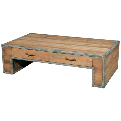 Reclaimed Wood Industrial Rustic coffee table with Drawers