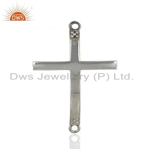 Cross Designer 925 Silver Diamond Connector