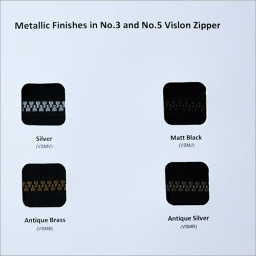 Metallic Finish Zippers