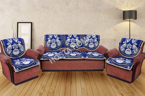 KC BLUE FLOWER BUNCH DESIGNER SOFA COVERS