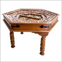 Carved Teak Wood Hexagon Table