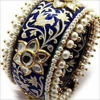 Gold Kundan Meena Bangle
