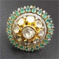 Kundan Meena Gold Rings
