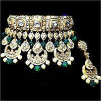 Bridal Gold Kundan Meena Necklace