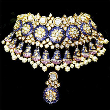 Gold Kundan Meena Necklace