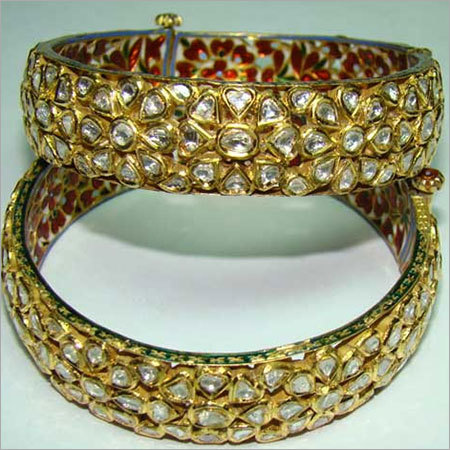 Gold Polki Diamond Bangle