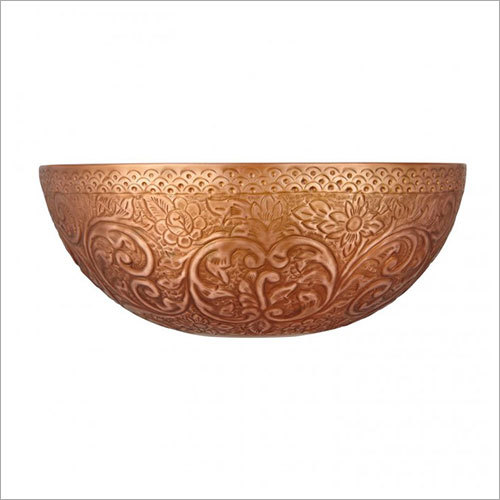 Matilda Round Embossed Antique Copper Double Wall Vessel Sink