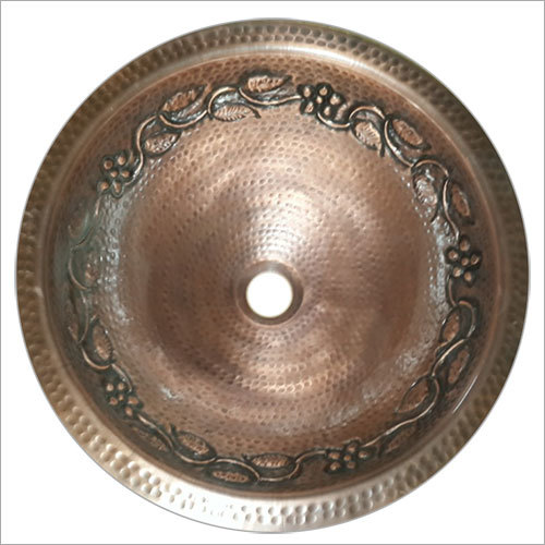 Undermound Single Bowl Hammered Embossed Round Sink
