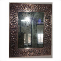 Rectangular Embossed Copper Mirror - Antique Copper