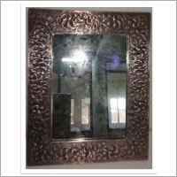 Rectangular Embossed Copper Mirror - Antique Copper