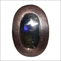 Oval Shape Hammered Copper Mirror - Antique Copper