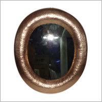 Medium Oval Hammered Copper Mirror