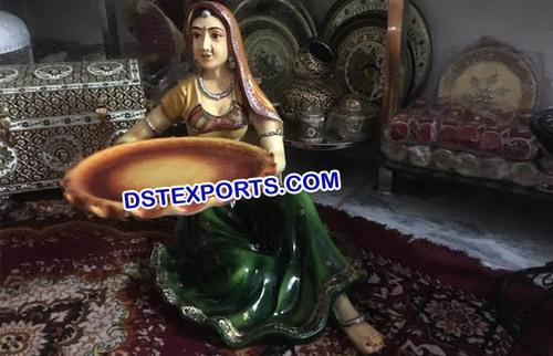 Rajasthani Lady Decoration Fiber Statue