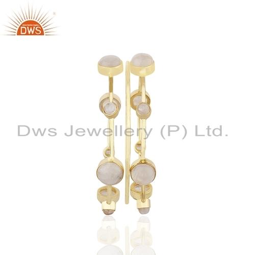 Rainbow Moonstone Gold Plated Bangle Set