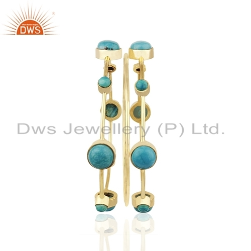 Turquoise Gemstone Gold Plated Bangle Set