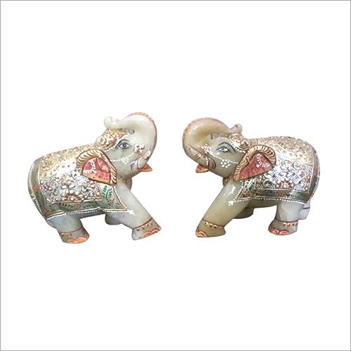 Elephant Pair Yellow Jade