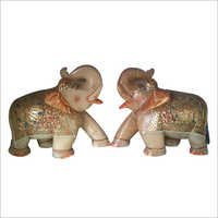 Decorative Elephant pair yellow jade stone