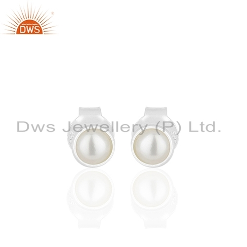 Fine Silver Natural Pearl Gemstone Stud Earring