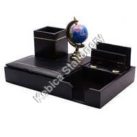 Faux Leather Desk Organizer with Globe