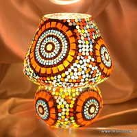 Earthen Metal Mosaic Decorated Dome Shaped Glass Table Lamp