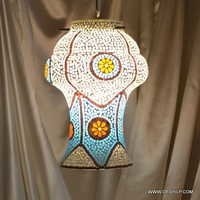 Blue Diamond Mosaic Glass Wall Sconce