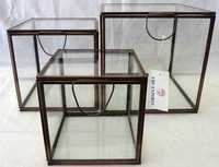 Square Glass and Brass Jewellery Boxes