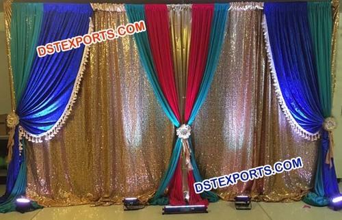 Glittering Wedding Mandap Backdrop Curtain