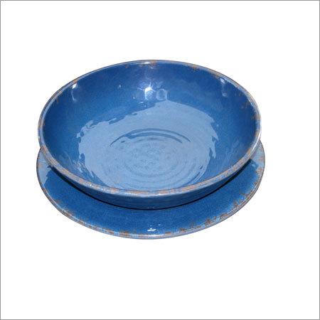 Round Melamine Blue Bowl