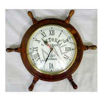 Antique Ship Wheel Wall Clock