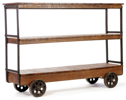 Industrial Three Shelf Rustic Trolley