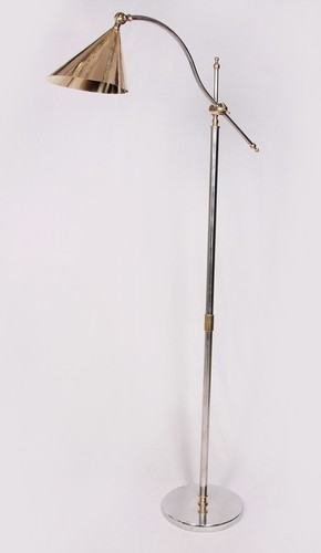 STEEL AND BRASS FLOOR LAMP
