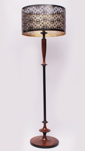 Aluminium Floor Lamp Rust & Black With Netting Sha