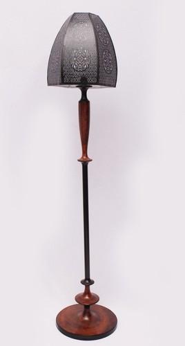 Aluminium Floor Lamp Rust & Black With Black Shade