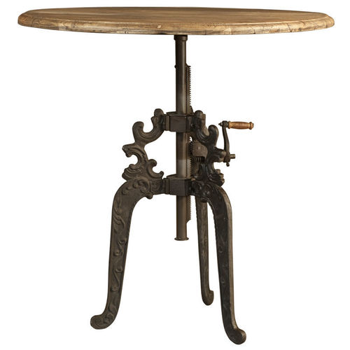 vintage Industrial cast iron crank table with carved legs