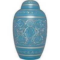 Brass Cremation Urn - Blue