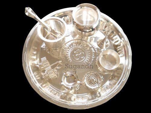 Metal Silver Plated Pooja Thali