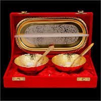 Silver And Gold Plated Bowl Set (2+1)